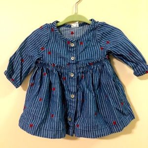 👒/$20 GAP baby girl Love blue denim dress